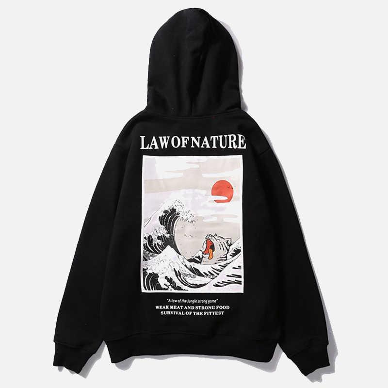 الخريف اليابانية طباعة الرجال هوديس مقنعين الشارع الشهير مضحك القط موجة المخملية هودي الرجال 2019 الشتاء عادية للجنسين الأسود البلوز