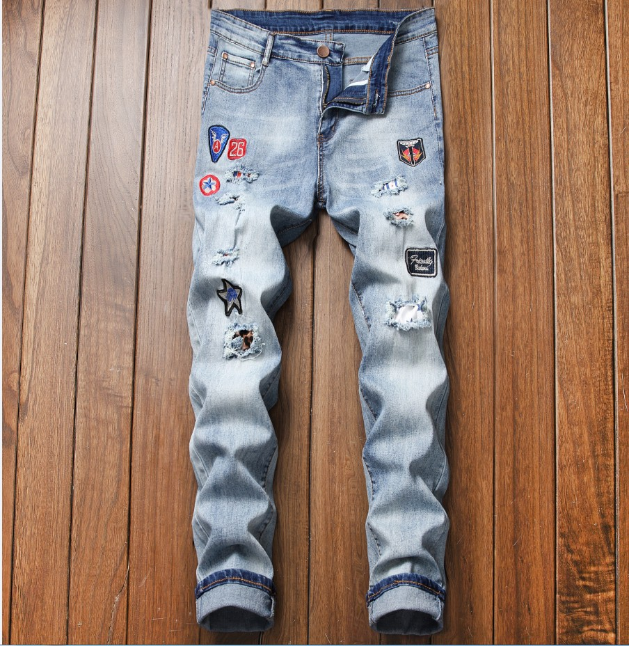 2019 New Style Korean-style Badge Men Fashion Embroidered Elasticity Skinny Men's Cowboy Ripped Pants Fashion