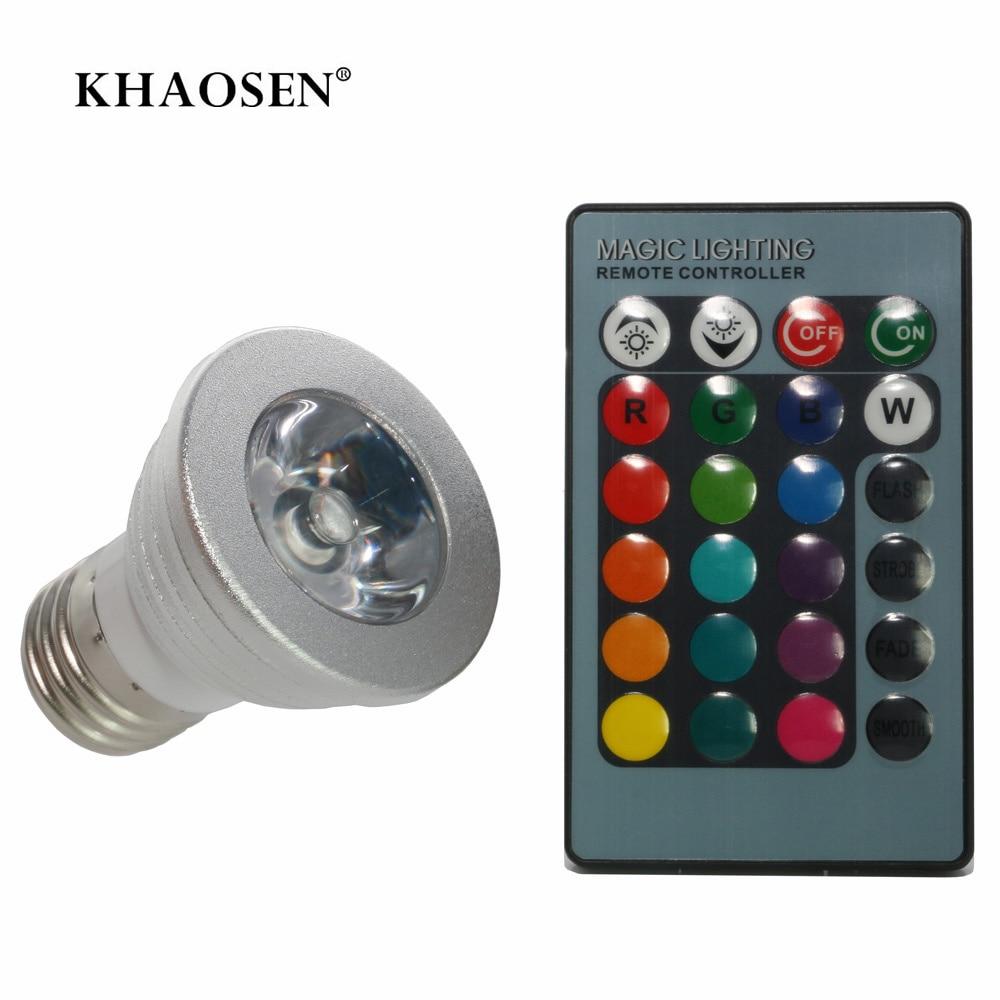 RGB LED Spotlight E14 E27 MR16 GU10 LED Bulb Light 110V 220V +IR Remote Control With Memory Mode GU5.3 Colorful 5W Dimmable