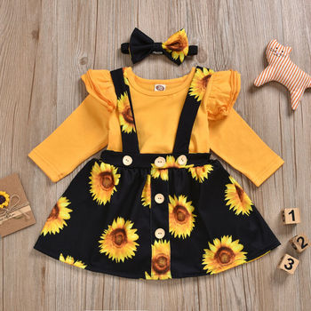 Baby Girl's Sunflower Patterned Clothing Set 3