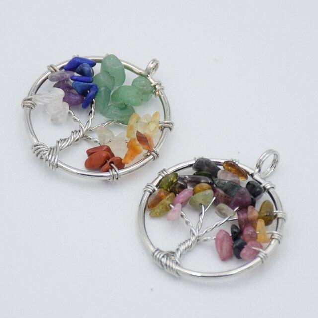 Baum des Lebens Halskette Anhänger Silber-farbe Natürliche Edelstein Stein Obsidian Kristall Chip Perlen 7 Chakra Draht Gewickelt Frauen schmuck