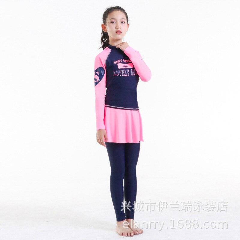South Korea KID'S Swimwear Girls Split Skirt-Long Sleeve Trousers Sun-resistant Beach Quick-Dry Students Swimwear