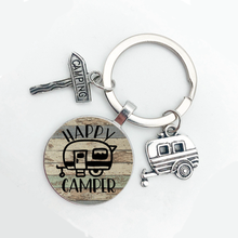 2021 New Cute Camper Wagon, I Love Camping Keychain, Trailer Road Sign Keychain, Holiday Travel Souvenir Gift