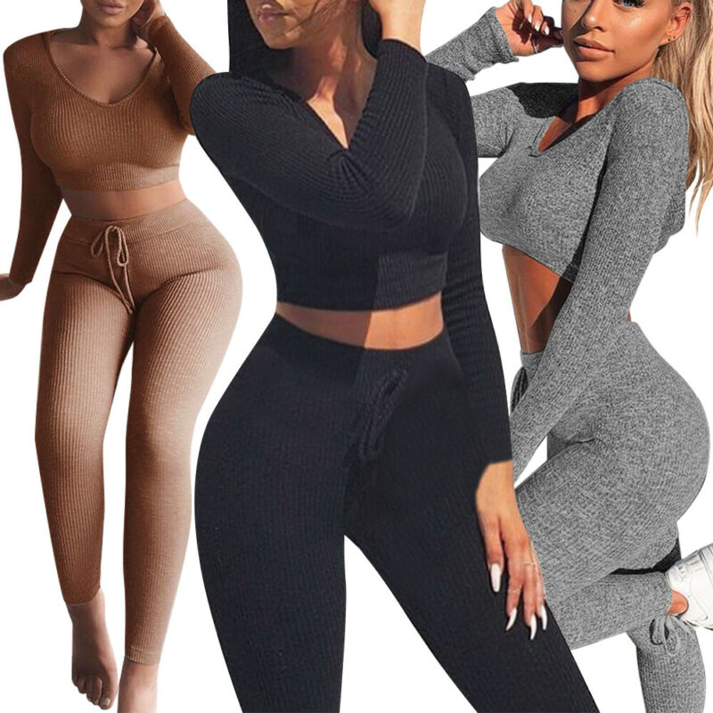 Women V-neck 2Pcs Knitted Long Sleeve Crop Top Blouse +Long Pants Two-Piece Outfits Playsuit Bodysuit Jumpsuit Romper Set