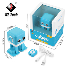 WLTOYS Cubee RC Robot Toy Smart Bluetooth Speaker Intelligent Musical Dancing Machine LED Face Desk Kids Gift Gesture Interative цена
