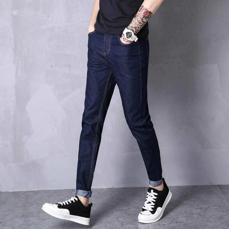 Pantalones Vaqueros Finos Para Hombre Pantalones Tobilleros Con Cintura Elastica Y Cinco Bolsillos Para Correr Pantalones Vaqueros Aliexpress