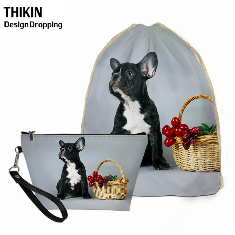 THIKIN Cute Animal Printed Female Drawstring Small Backpack For School Students Pug Dog Pattern Hanging Toiletry Bags Travel Bag