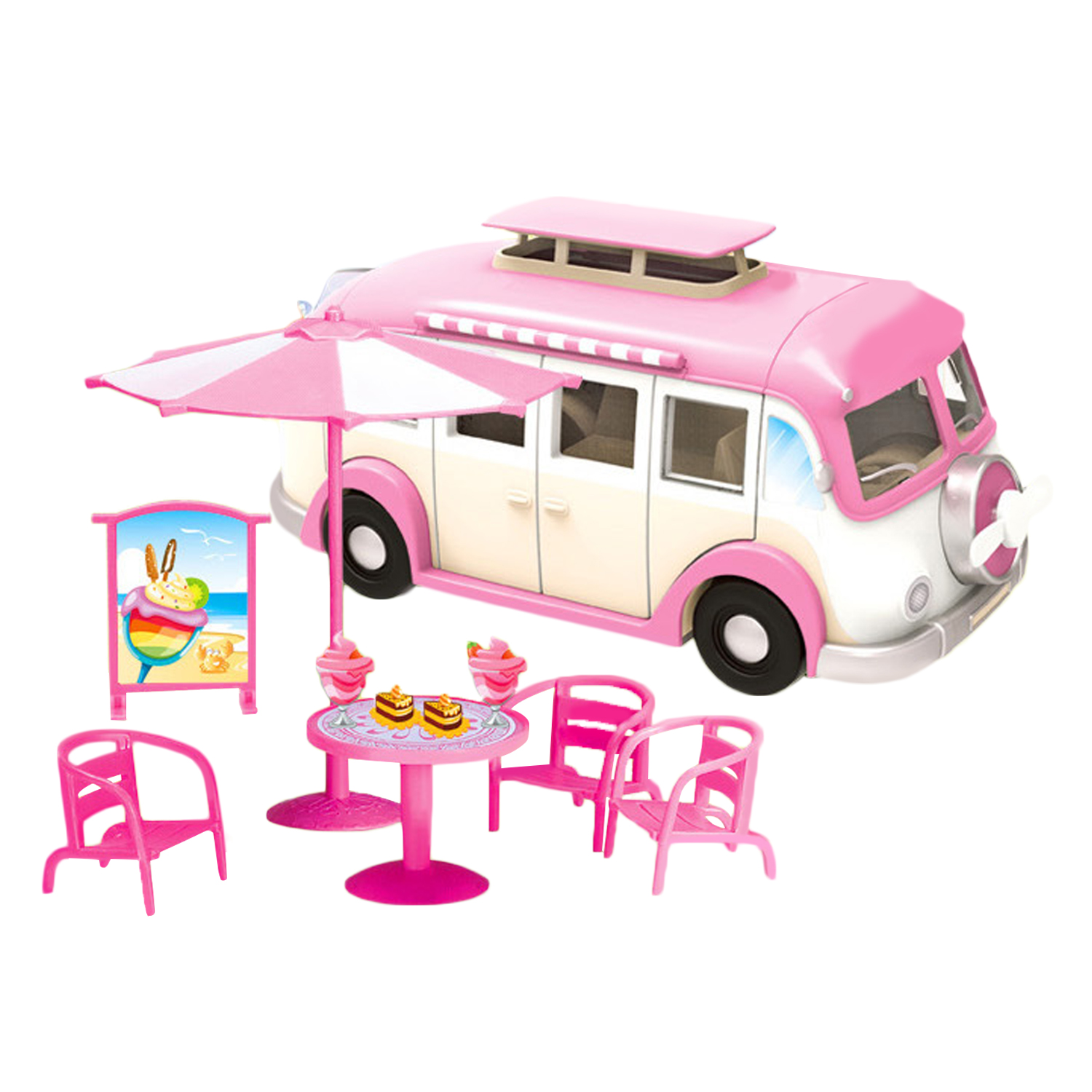 Besegad Fashion Cute Simulation Motorhome Camper Car Toys Compatible For Barbie Dolls Accessories Girls Birthday Christmas Gifts