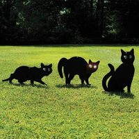 3pec Schwarz Metall Erschrecken Katzen Schädlingsbekämpfung Scarer Repeller Katze Abschreckungsmittel Schwarz Katze|Jagd-Köder|   -