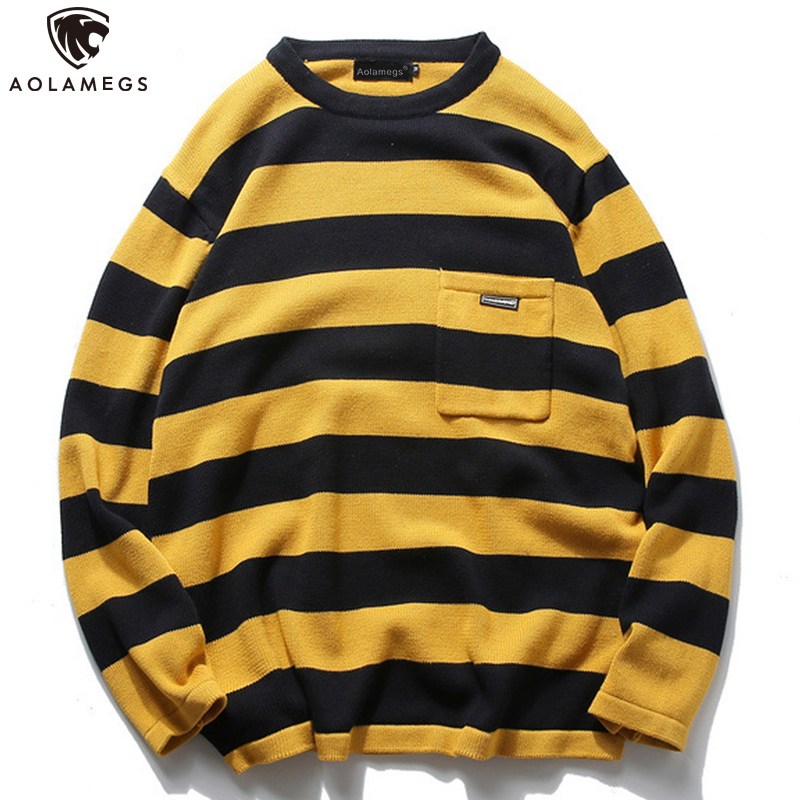 Aolamegs Sweater Men Striped Print Pullover O-neck Sweaters Retro Simple Style Tops Advanced Knitted Casual Streetwear Autumn