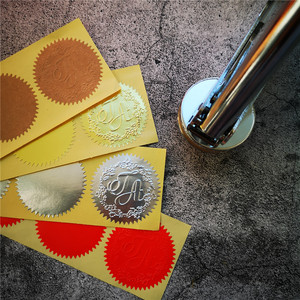 Image 5 - 500 adet 45mm kabartma etiket kabartma damga, özel Embosser mühür, Diy kabartma mühür kartı, üniversite sertifikası