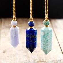 Collier pendentif en pierres précieuses naturelles, diffuseur dhuiles essentielles, bouteille de parfum, bijoux en acier inoxydable, collection livraison directe