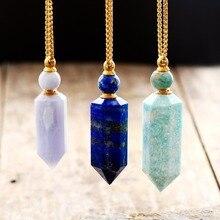 Gemas naturais pedra óleo essencial difusor perfume garrafa pingente colar de jóias de aço inoxidável dropshipping