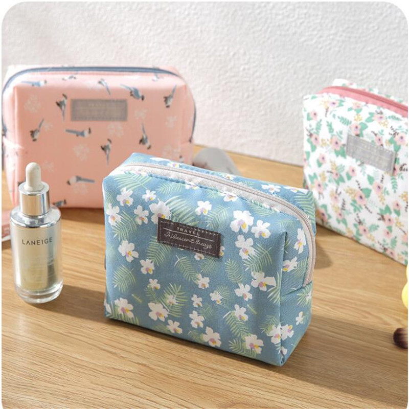 Fashion Mini Purse Toiletry Travel Makeup Pouch Sweet Floral Cosmetic Bag Organizer Portable Beauty Case Storage Make Up Pouch