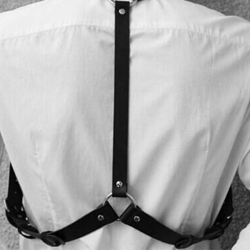 Men Adjustable Faux Leather Body Chest Harness Suspender Belt With Bucles O-Ring