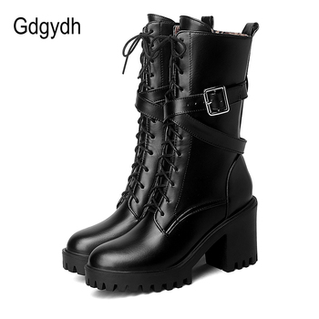 Gdgydh Women Mid-calf Boots Round Toe Thick High Heel Platform Shoes Soft Leather Punk Female Motorcycle Boots Plus Size 34-43 цена 2017