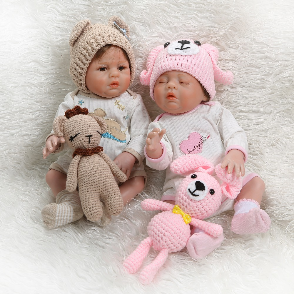 17/'/'  Reborn Baby twins boy girl Dolls Silicone  life toys Xmas gifts