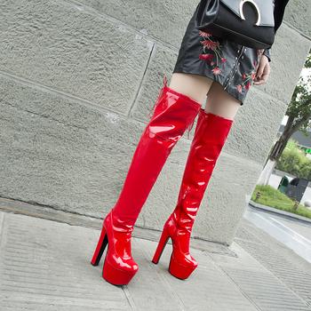 2020 New Sexy Women Over The Knee Boots 17cm Super High Heels Patent Leather Boots Winter Short Plush Shoes Woman Size 34-46 tanie i dobre opinie Lucyever CN (pochodzenie) Over-the-knee Platforma Stałe HL8002-8003 Plac heel Podstawowe Krótki pluszowe Okrągły nosek