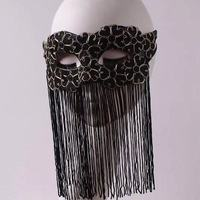 Black gold tassel half face masked masks for men and women party party stage dance mysterious sexy mask adult