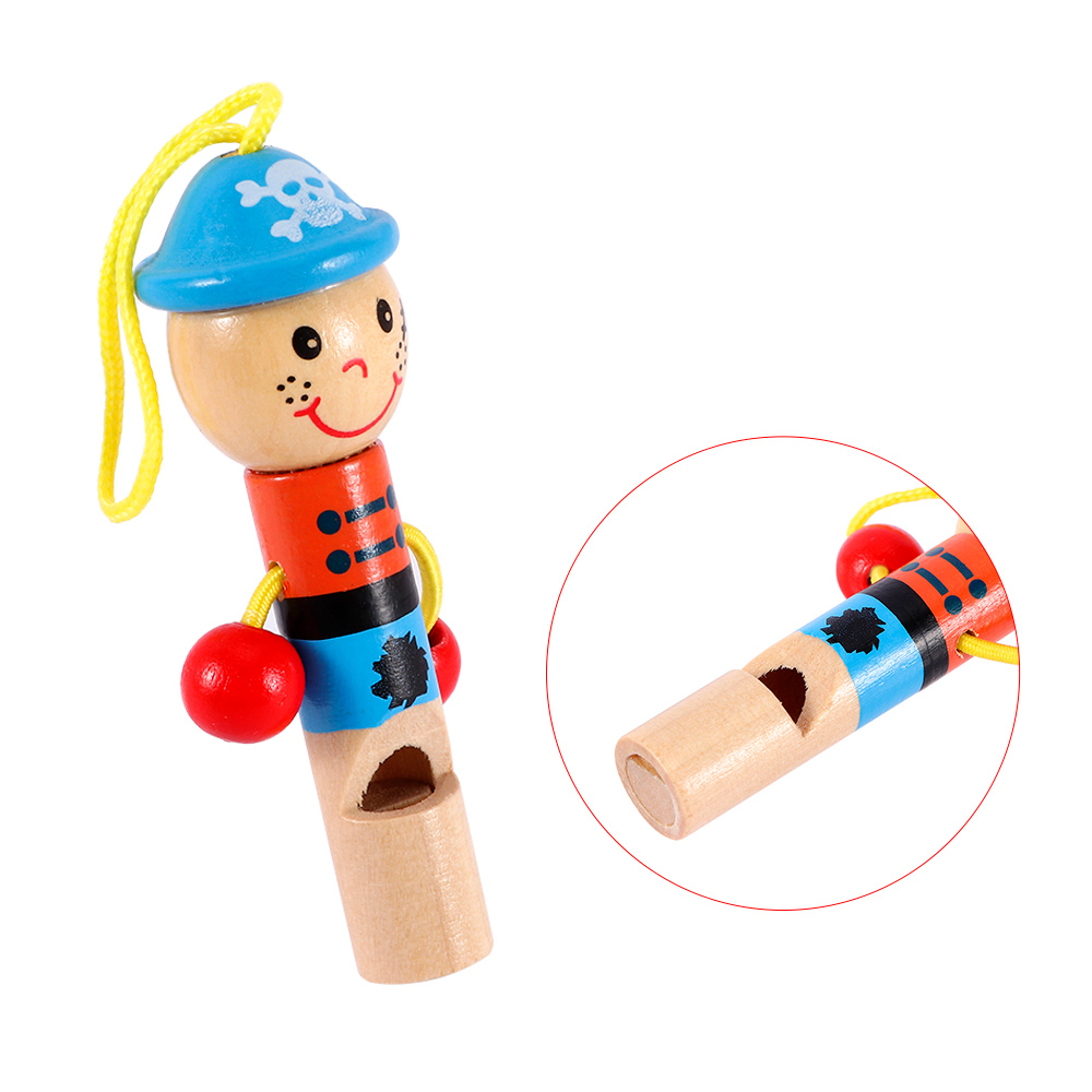 1 Pc Kids Toys Cute Little Pirate Whistle For Kids Wooden Cartoon Whistle Toys Children Learning Educational Gifts