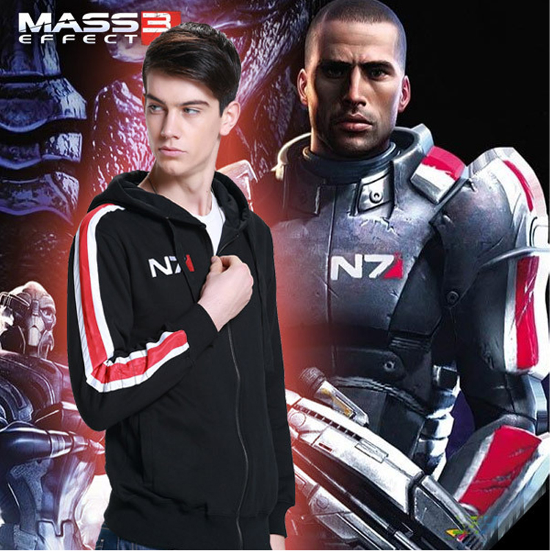 Mass Effect Hoodies Men Anime Zipper Sweatshirt Male Tracksuit Cardigan Jacket Casual Hooded Hoddies Fleece Jacket N7 Costume