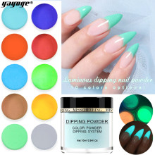 YAYOGE 10 Kleuren Lichtgevende Nail Poeder Nail Glitter Glow In The Dark Dompelen Poeder Luminated Poeder DIY Nail Art(China)