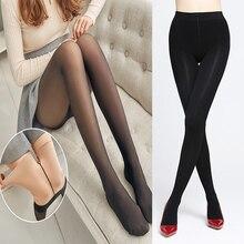 Pantis de terciopelo cálido para mujer, medias gruesas de otoño e invierno, pantis elásticos de nailon elástico alto, medias Sexy ajustadas para mujer