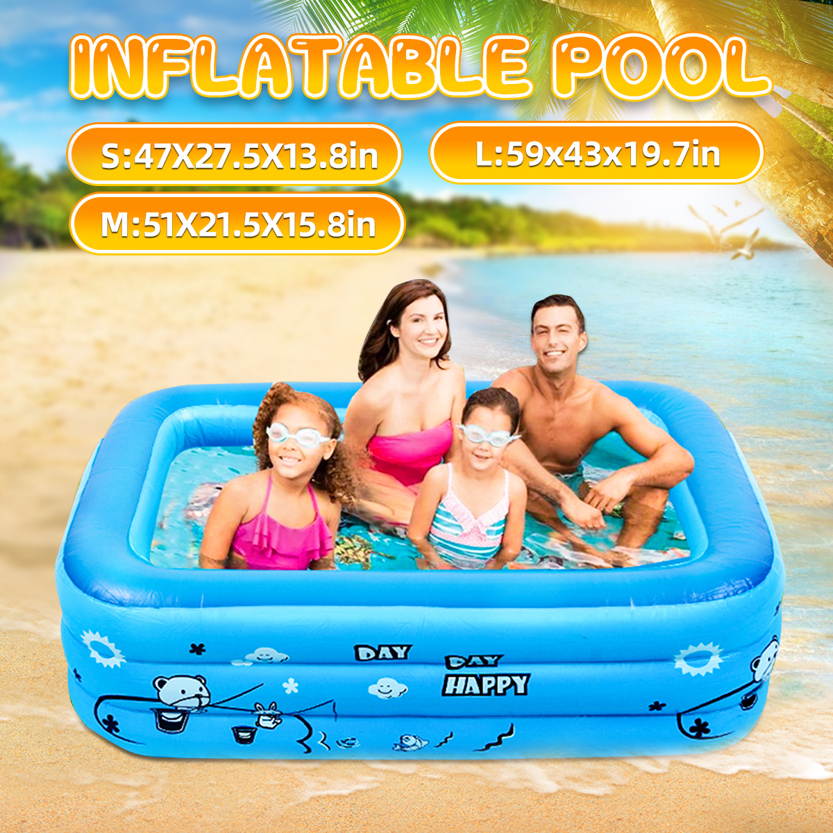 120/130/150cm Children Bathing Tub Baby Home Use Paddling Pool Inflatable Square Swimming Pool Kids Inflatable Pool Freeshipping