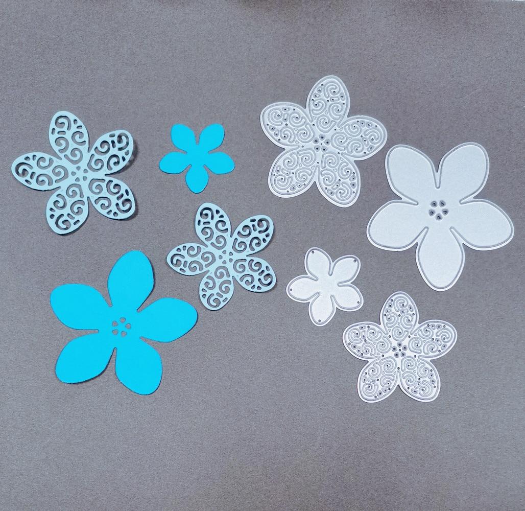 4Pcs/Lot Flowers Set Metal Cutting Die Stencil Template For DIY Embossing Scrapbooking Paper Album Gift Cards Making Die Cuts