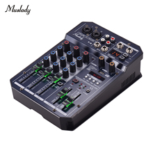 Muslady T4 Portable 4 Channel Sound Card Mixing Console Audio Mixer Supports BT Connection MP3 Player Recording Function for DJ
