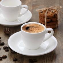 Дешевые продажи классический европейский стиль белая керамическая итальянская кофейная чашка 80 мл небольшой емкости Эспрессо-кружка и блюдце костюмы Taza