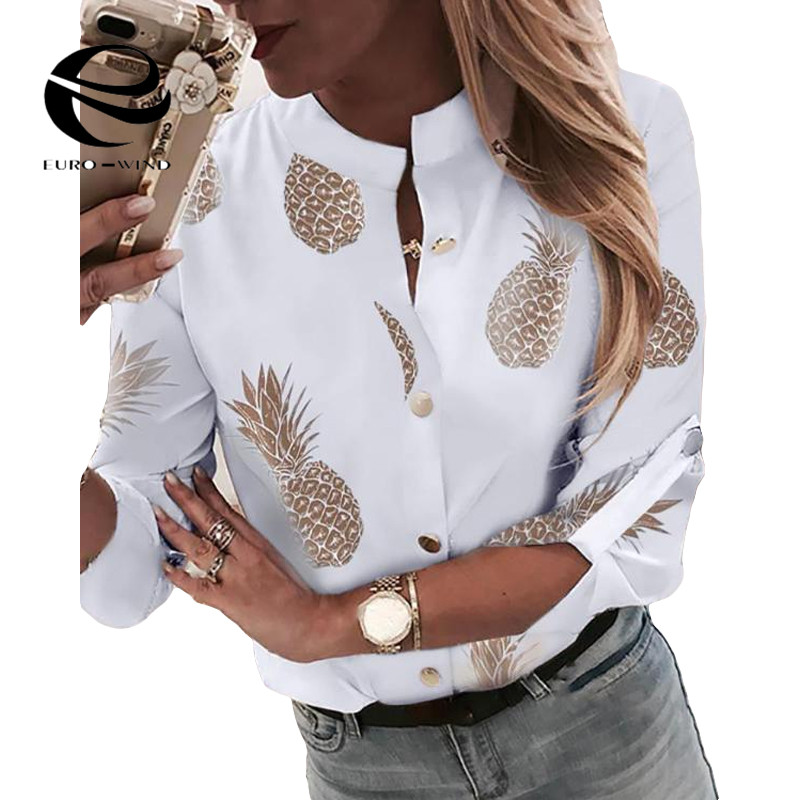 Plus Size 2XL Women Tops and   Blouse   2019 Autumn New ;pong Sleeve V Neck Pineapple Print   Blouses   Female Casual Loose   Shirts   Blusa