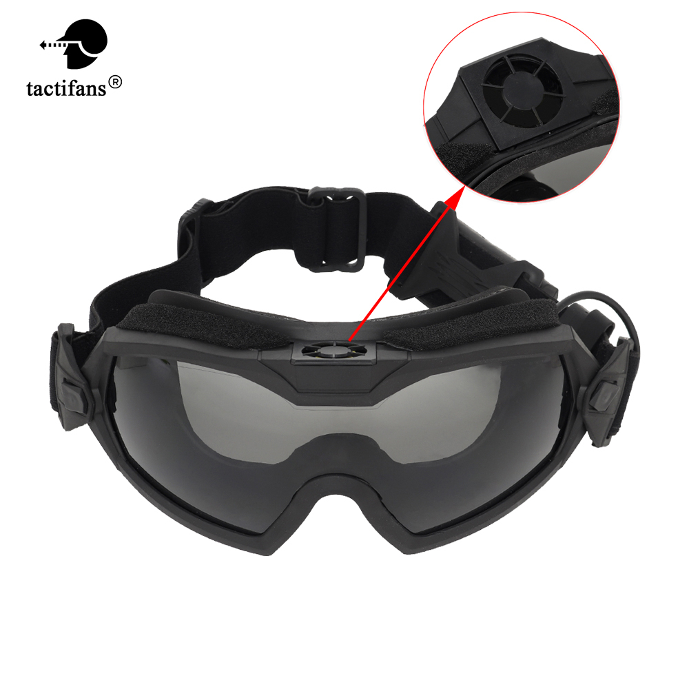 Tactical Fan Goggle Anti-fog Fan System Good Impact Interchangeable Protective Lens Motor Cycling Paintball Airsoft CS Wargame