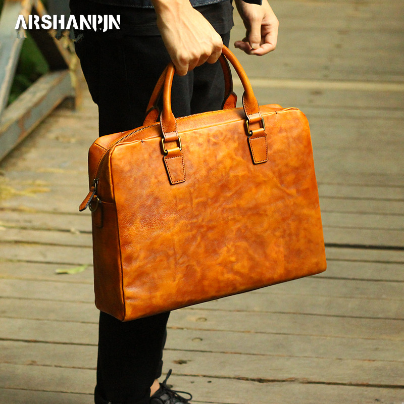Genuine Leather Retro Men Briefcase Men's New Leather Notebook Bag Simple Original Male Handbag Handmade Cross Men's Laptop Bags
