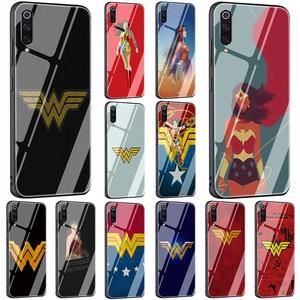 EWAU Wonder Woman Logo Tempered Glass Phone Cover Case For Xiaomi Mi A1 A2 8 9 Redmi 4X 6A Note 5 6 7 Pro Pocophone F1