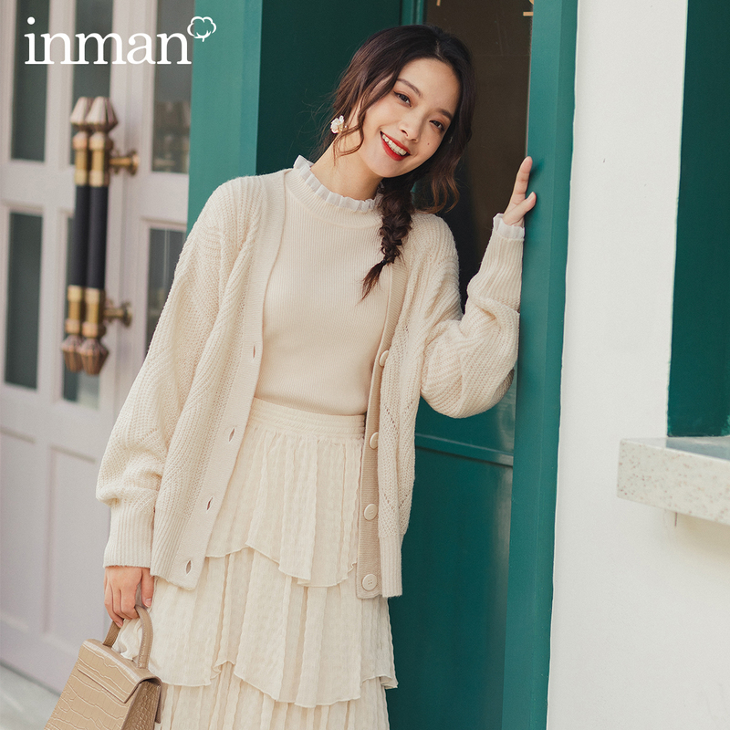 INMAN 2020 Spring New Arrival Literary Retro V-line Collar Jacquard Dropped Shoulder Sleeve Single-breasted Cardigan Sweater