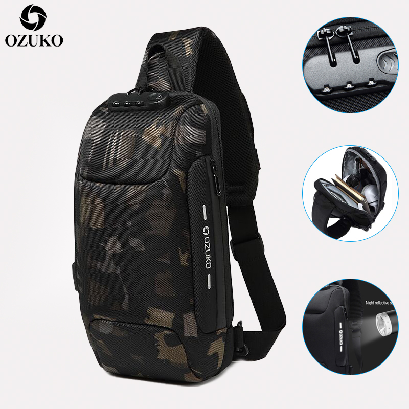 OZUKO New Anti-theft Lock Design Men Chest Pack Summer Short Trip Messengers Bag Multifunction Waterproof Shoulder Crossbody Bag