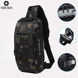 Ozuko novo design de bloqueio anti-roubo masculino pacote de peito verão curta viagem mensageiro saco multifuncional à prova dmultifunction água bolsa de ombro crossbody