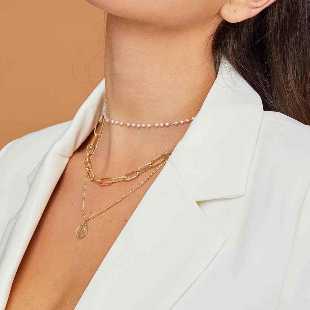 17KM Vintage Coin Pearl wielowarstwowa naszyjnik dla kobiet moda złoty kolorowy wisiorek długie naszyjniki biżuteria boho