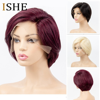 Blonde Straight Short Bob Wigs Glueless Pixie Cut 13x6 Side Part Lace Front Human Hair Short Wigs Black Red Remy Hair For Women
