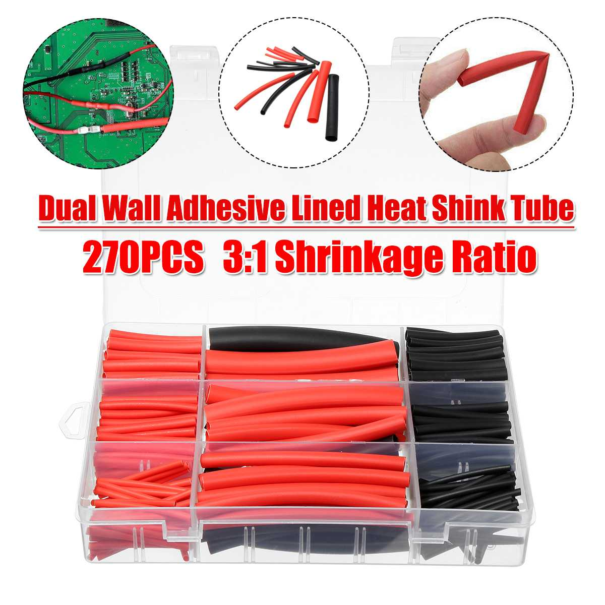 TMOEC 270Pcs Heat Shrink Tube Wrap Assortment Wire Cable Insulation Sleeving Dual Wall Heat Shrink Tubing Tube Sleeve Wrap Wire