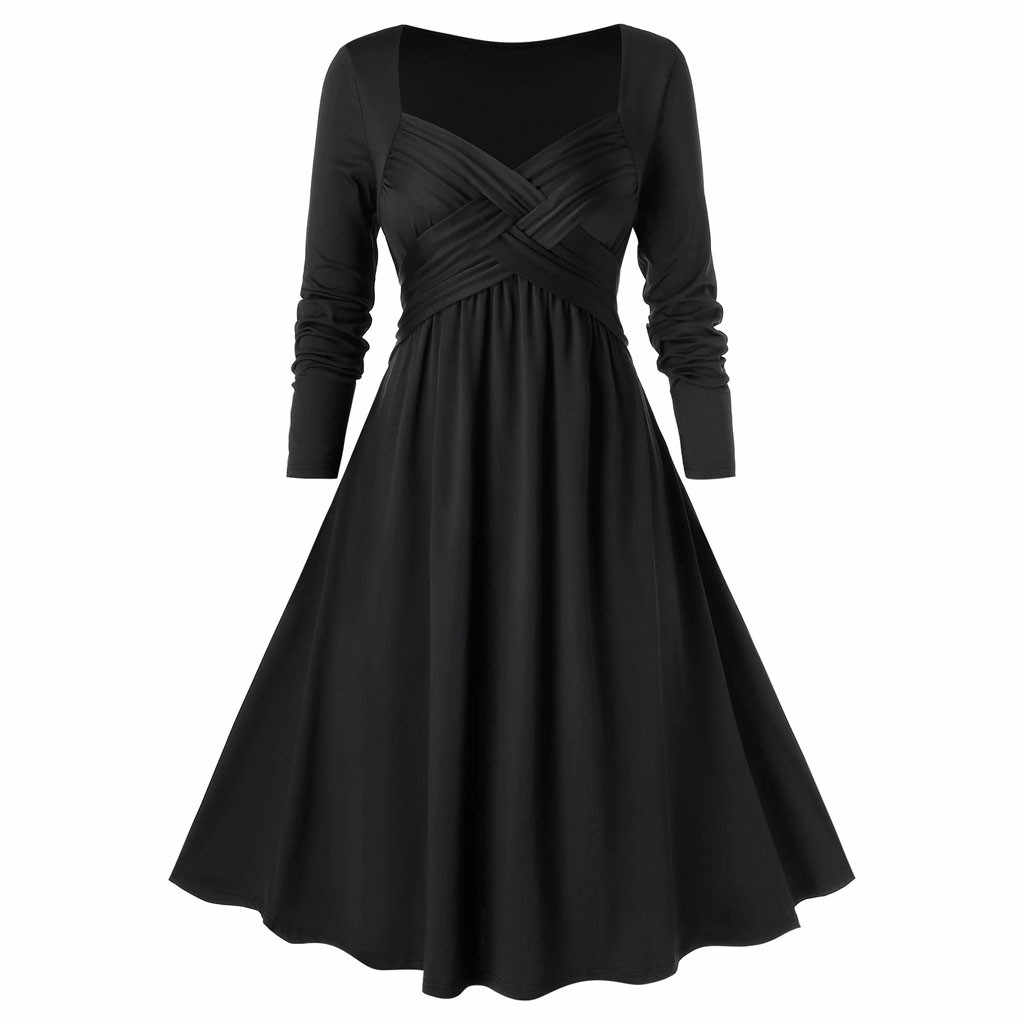 Women Vintage Christmas Dress Elegant Black Solid Winter Casual Midi Long Sleeve Sexy Party Dress Robe Femme Vestidos#J30