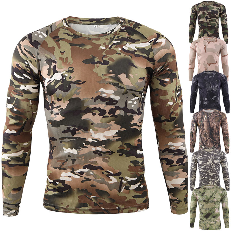 Male Fishing Tops Outdoor Hunting Camouflage T-shirt Men Army Tactical Combat T Shirt Airsoft Paintball Military Army Shirts