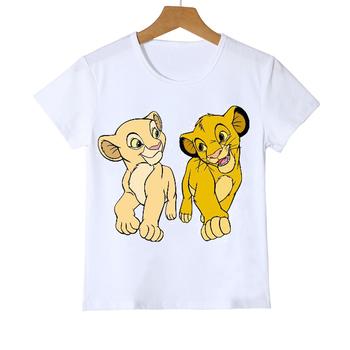 Ubrania dla dzieci dla dzieci śliczne król lew nadruk zwierzęta t-shirt dla dziewczynek chłopców śmieszne kawaii odzież dla dzieci t shirt koszulki topy tanie i dobre opinie COTTON POLIESTER CN (pochodzenie) Na co dzień W stylu rysunkowym REGULAR Z okrągłym kołnierzykiem SHORT Pasuje na mniejsze stopy niezwykle Proszę sprawdzić informacje o rozmiarach ze sklepu