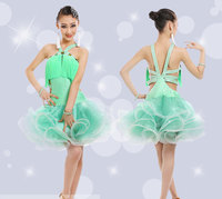 Girl Latin Dance Costume Stage Wear Outfits Kid's Ballroom Dressing Rumba Samba Dance Clothes Chinese Folk Dancing Salsa Dresses