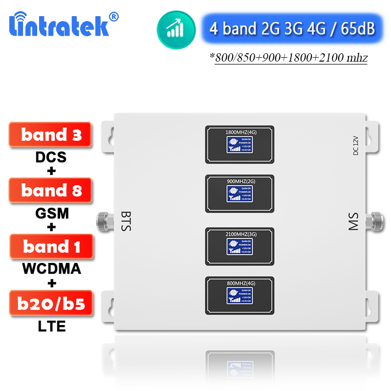 Lintratek 4 Band 2G 3G 4G Signal Booster Band20 LTE 800 B5 850 900 1800 2100 Cellphone Amplifier GSM WCDMA DCS Cellular Repeater
