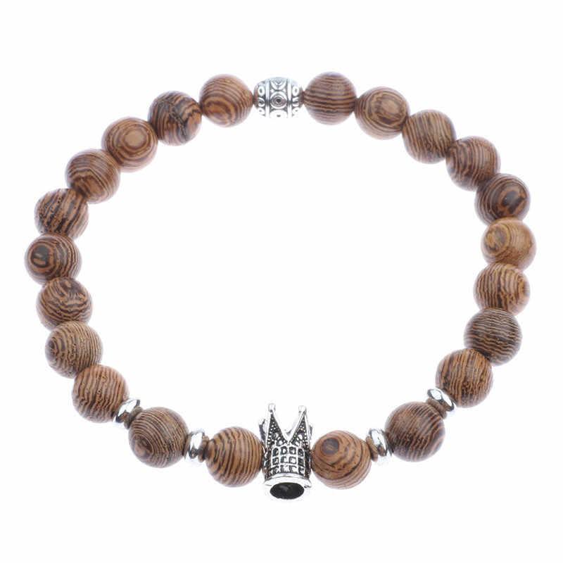 Krzyż różaniec bransoletki mężczyźni drzewo sandałowe biżuteria budda modlitwa pulsera hombre naturalne koraliki drewniane bransoletka dla kobiet