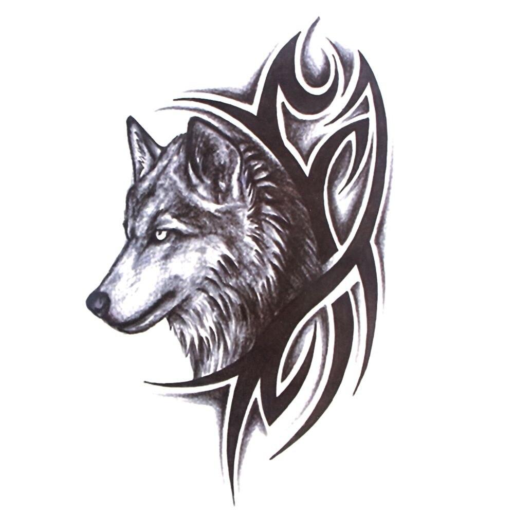 HOT Wolf Eagle Temporary Tattoo Sticker Men Women Black Animal Waterproof Tattoo Multi Styles Water Transfer Fake Tattoo