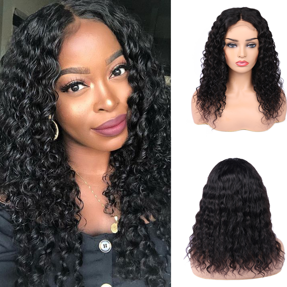 Wignee 4*4 Lace Closure Human Hair Wigs For Black Women 150% High Density Free Part Natural Brazilian Hair Swiss Lace Human Wigs