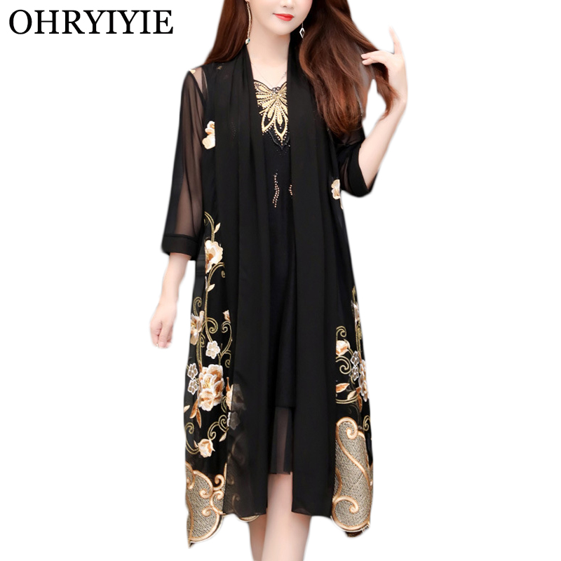 OHRYIYIE Plus Size 5XL Long Cardigan Sweater Women Poncho 2020 Spring Summer Vintage Embroidery Knitted Sweater Female Tops Coat